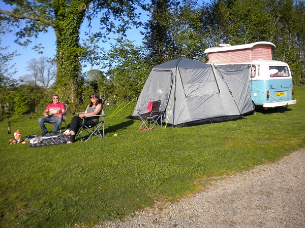Enjoying the sunshine at Deanwood Campsite Forest of Dean